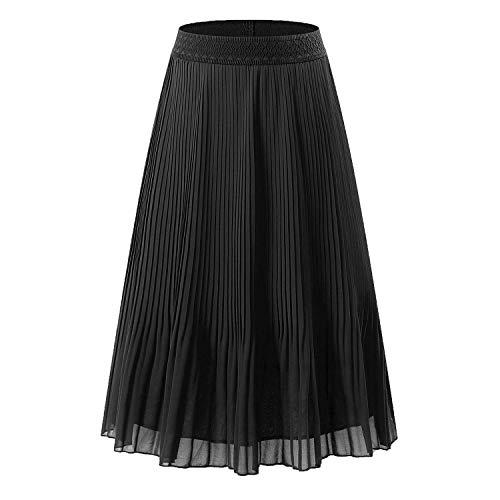 Pleated Chiffon Mini Skirt - NAMETSHE Women's Chiffon High Waist Pleated Skirt A-line Maxi Skirts Black