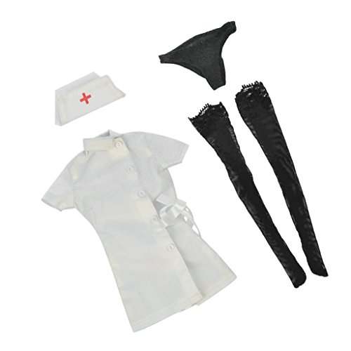 Baoblaze 1/6 White Nurse Dress Stockings Full Set for 12'' Action Figure Accessories (12' Full Action Figure)