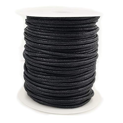 (2.0mm Black Jewelry Making Beading Crafting Macramé Waxed Cotton Cord Rope)