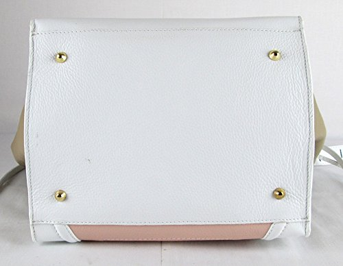 Borsa simile celine vera pelle made in italy genuine leather bag patch pinkw