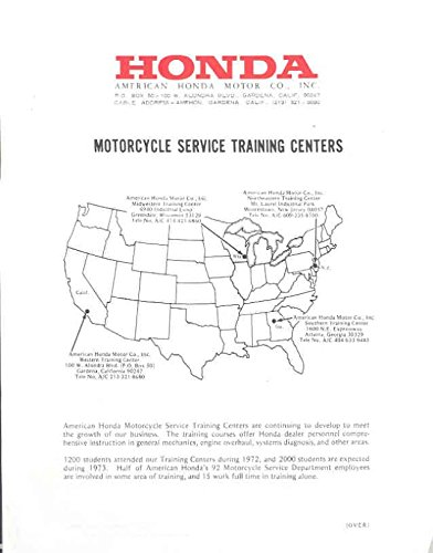 1973 Honda Motorcycle Service Training Center Brochure