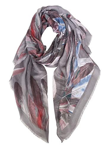 GERINLY Scarf Wrap - Colorful Feathers Print Shawls Womens Soft Warm Scarves (Gray)