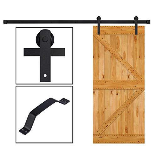 skysen 8FT Sliding Barn Door Hardware Kit Black (I Shape Hanger) ()
