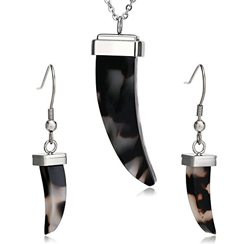 AmDxD Jewelry Stainless Steel Earring and Necklace Set for Womens Crescent Moon Silver Black by AMDXD
