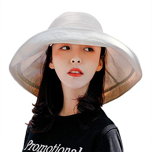 Women Sun Hat Summer UV Protection Cap Beach Sun Hat Double Color Wide Brim Foldable with Wind Rope-Beige