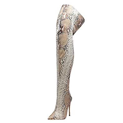 Zanpa Women Fashion Thight High Boots Zipper Dress Overknee Boots Pointed Toe Evening Party Shoes Stiletto Heels Snake Apricot-Snake Size 34