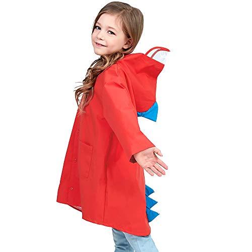 Mini Balabala Raincoat for Kids Rain Jacket Dinosaur Shaped Lightweight Age 2-10 Unisex Cartoon Rain Cape Funny Children Rain Wear Red Size XL