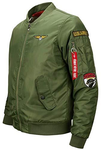 Cuello En para Chaqueta Fuerza Ligero con V Y Invierno De para Verde Ropa Chaqueta Vuelo Aérea Acolchado Bombardero Deporte Chaqueta Clásica Hombre Otoño Casual 5w5Exq0