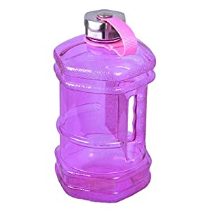 2.3 Liter Hexagon BPA Free Reusable Plastic Drinking Water Bottle Jug Container w/ Hand Holder Canteen and Stainless Steel Cap - Purple