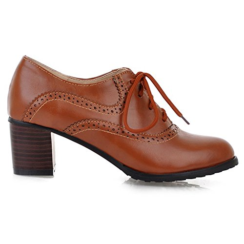COOLCEPT Women Fashion Heels Court Shoes Lace Up Brown 9a3CcZKNII