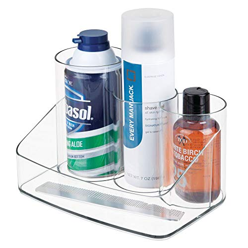 mDesign Men's Grooming Storage Organizer for Combs, Shaving Tools, Cologne - Clear