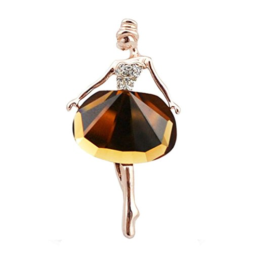 Botrong Brooches for Women, Cute Ballerina Girl Lady Rhinestone Flower Wedding Bridal Bouquet Party Brooch Pin (Brown)