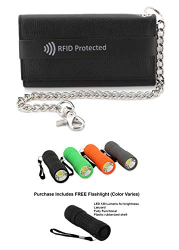 (Mens Black Cowhide RFID Blocking ID Protection 21 Pocket Trucker Biker Trifold Chain Wallet + Flashlight)