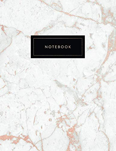 (Notebook: Beautiful White Marble with Shiny Rose Gold Inlay | 150 College-ruled (7mm) Lined Pages | 8.5 x 11 - (A4 Size) (Marble and Gold))