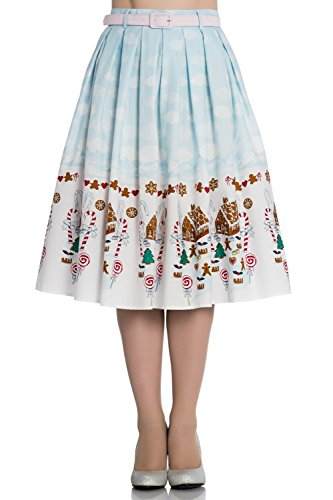Hell Bunny Gigi Gingerbread Christmas Festive Vintage Xmas Party 50s Flare Skirt - Blue (Bunny Skirt)