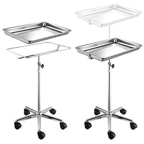 Durable Mayo Instrument Stand Adjustable Height Sitting Standing w/ Removable Stainless Steel Tray & 5 Legs for Home Medical Equipment Personal Care Tattoo Parlor