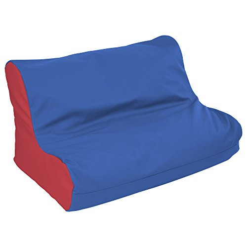 ECR4Kids SoftZone Youth Bean Bag Chair Soft Seat, Twin Sofa Lounger, Blue and Red