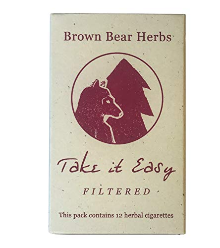 Brown Bear Herbs Take it Easy Blend, Filtered Herbal Cigarettes, Organic Smoking Blend, no Tobacco, no Nicotine, Organic Herbs, USA