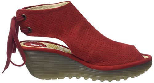 Fly London Damen Ypul799fly Peeptoe Sandalen Rot (rossetto Rosso)