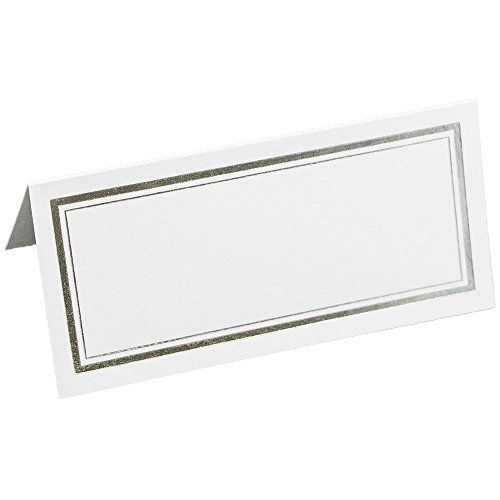 JAM Paper Foldover Wedding Table Place Cards - 2 x 4 1/2 - White with Silver Double Border - 100/Pack