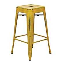 """Office Star BRW3026A2-AY Bristow Metal Barstool, 26"""", Antique Yellow with Blue Specks, 2 Pack"""