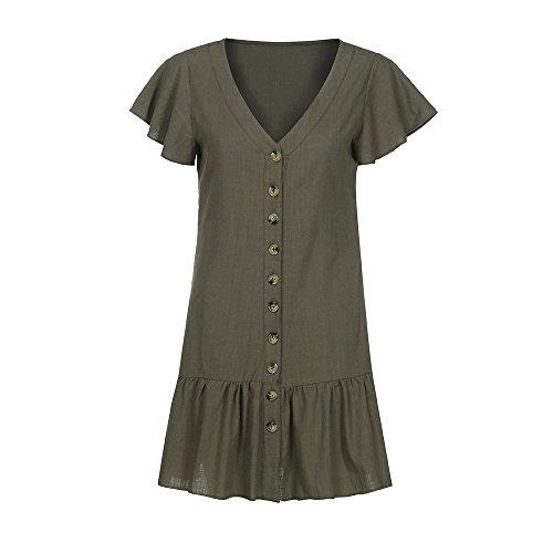 iLUGU V Neck Short Sleeve Mini Dress for Women Button Pleated Dress Dress Shirt