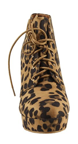 Booties Heel Suede up Leopard Goldie BellaMarie High Lace Women's 21 Faux Platform RvSx1zF