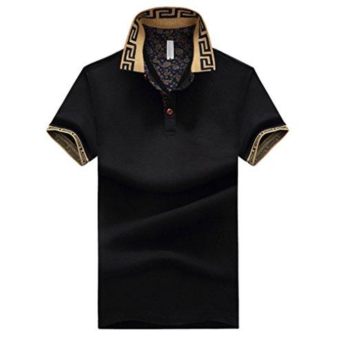 設置石灰岩ますますメンズ ポロシャツ 半袖 Tシャツカジュアル 紳士ポーツゴルフ シャツおしゃれ 2018新品 部屋着 吸汗速乾3カラー (ブラック, 3XL)