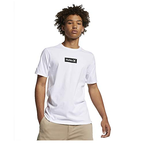 Hurley Men's Premium One and Only Small Box Tee, White/(Black) - - Hurley Polo Shirt Cotton