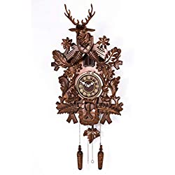 Polaris Clocks Cuckoo Clock in Black Forest Style with Night Mode Option and Hand Carved Deer Head (Brown, Deer & Squirrels)
