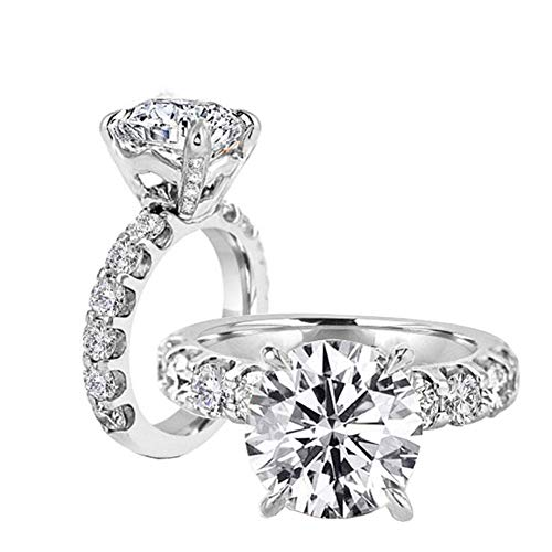 Erllo 3ct Cubic Zirconia Engagement Rings High Setting CZ Wedding Round Promise Solitaire 925 Sterling Silver (Rhodium-Plated-Silver, 8)