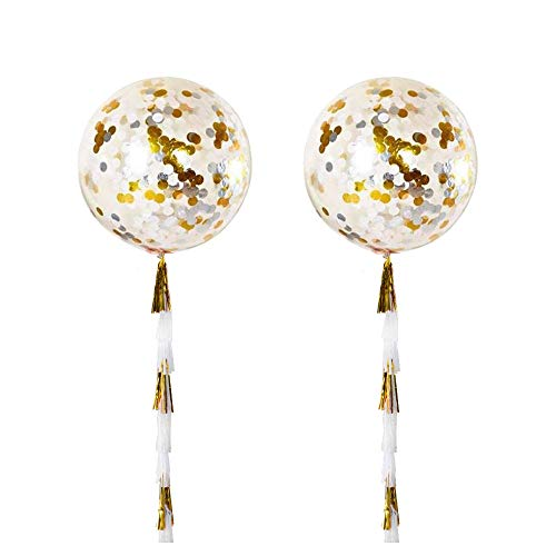 ZOOYOO 36 Gold Tissue Paper Tassels Confetti Balloons Pack of 2 (clear)