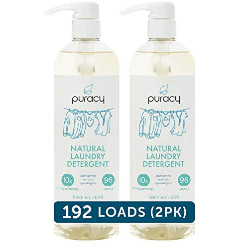 Puracy Natural Liquid Laundry Detergent, Hypoallergenic, Effective, Free & Clear, 24 Ounce (2-Pack)