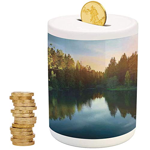 iPrint Lake House Decor,Piggy Bank Coin Bank Money Bank,Top Slot Porcelain Nursery Décor Baby Bank,Modern Photo of Lake and Forest Landscape in Northern Island with Realistic Color Art