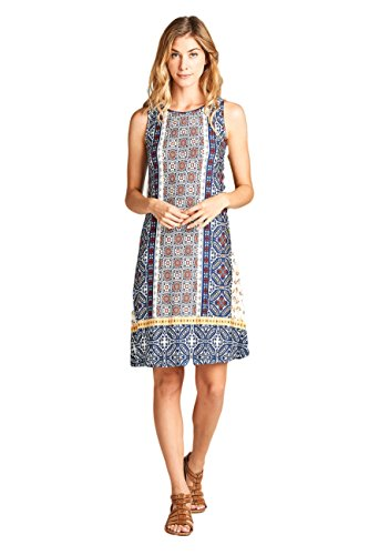 ReneeC. Women's Vivid Print Sleeveless Mini Urban Short Dress - Made In USA (Medium, Navy & Ivory) (Clothing Women In Made Usa)