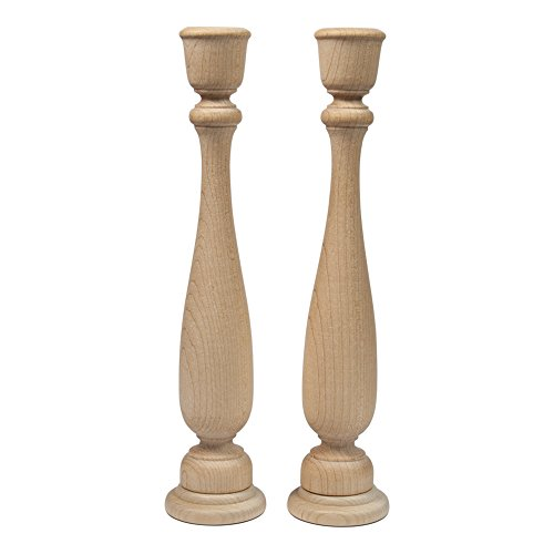 Unfinished Candlesticks 11 Inch, Unfinished Wooden Candlestick Holder - Bag of 2 by Craftparts Direct