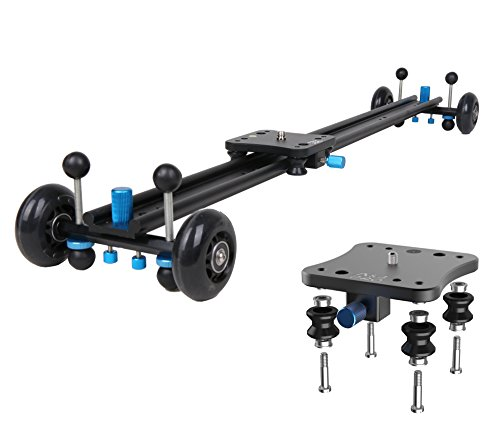 A&J ANJMVSL80 Camera Slider with Aluminum Alloy 4 Wheels Video Rail Track Slider Dolly Stabilizer for Canon Nikon Sony DSLR camera, 31.5'', Black by A&J