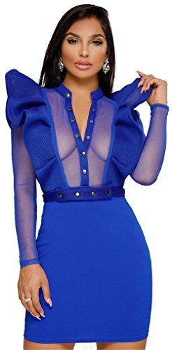 Vestito Donne Clubwear Il Manica Attraverso Dell'anca Pacchetto Di Balze Vedere Lunga Didala Maglia Sexy Blu Rivestita RBWO4R7