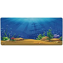 iPrint Pet Mat for Food and Water,Aquarium,Marine Life Landscape Sunken Ship Silhouette Corals Fishes Tropics Decorative,Blue Light Coffee Green,Rectangle Non-Slip Rubber Mat for Dogs and Cats
