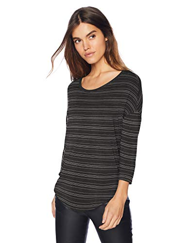 Daily Ritual Women's Jersey Rib-Trim Drop-Shoulder Scoop-Neck Shirt, Black-White Stripe, Small (Scoop Luxe Neck)