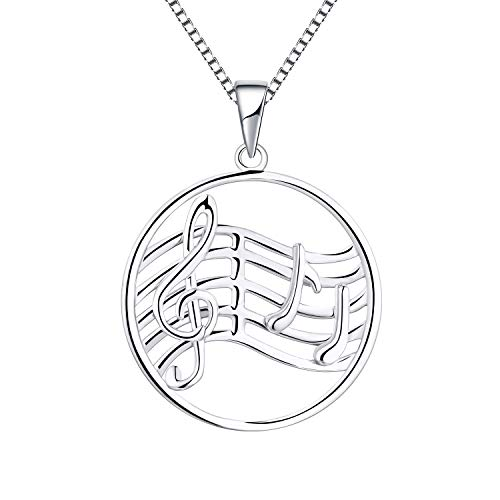 YL Musical Note Staff Necklace 925 Sterling Silver Treble Clef Pendant for Women Jewelry, 18