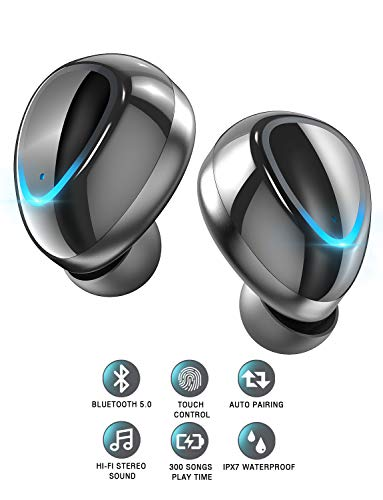 Wireless Earbuds Bluetooth 5.0 Wireless Earphones Stereo Sound, Touch Control, Built-in Mic, IPX7 Waterproof, 12H Playback Time, Wireless Headphones Bluetooth Earbuds with Portable Charging Case