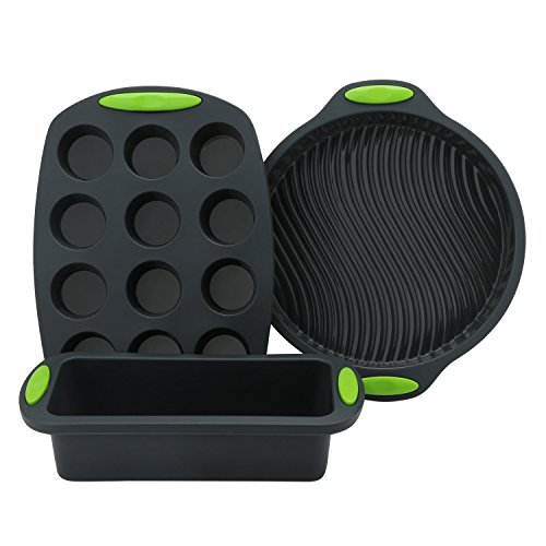 Cake Silicone Molds, Beasea 3 Pieces Bread Cake Cupcake Pan Set Premium Non-Stick Silicone Baking Mold for Homemade Cakes, Loaf, Meatloaf, Quiche, Pizza by Beasea