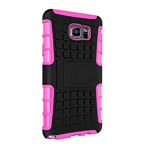 Price comparison product image Lookatool For Samsung Galaxy NOTE 5 Shockproof Armor Full Body Protective Case with Kickstand Case Cover Skin (Hot Pink)