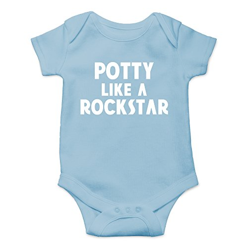 Crazy Bros Tees Potty Like a Rockstar Funny Cute Novelty Infant One-Piece Baby Bodysuit (12 Months, Light Blue)
