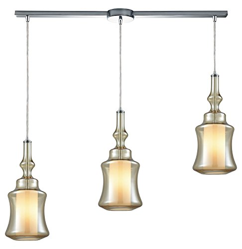 - Alora 3 Light Linear Bar Pendant in Polished Chrome with Opal White Glass Inside Champagne Plated Glass