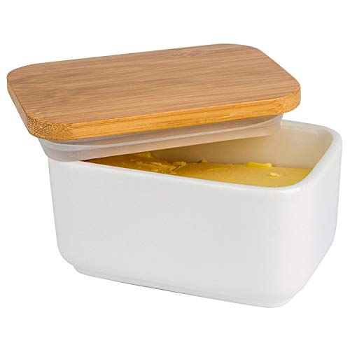 Arswin Butter Dish with Lid, Porcelain Butter Dish with Bamboo Lid, Butter Keeper Butter Container with Cover for Countertop or Refrigerator, Heat Resistant Kitchen Organization Storage White (300ml)