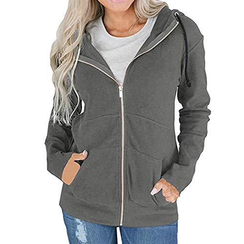 Cardigan Outwear Da Grigio Hellomiko Cerniera Sweatshirts Cappuccio Con Giacche Donna Warm Coat XwwFA8nqg