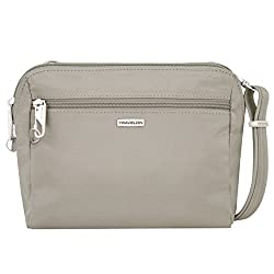 Travelon Women's Classic Convertible Crossbody & Waist Pack Cross Body Bag, Stone, One Size
