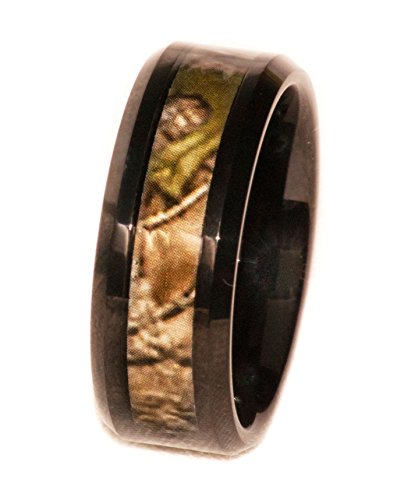 (Southern Designs Camouflage on Black 8mm Band Ring (Mens 16))